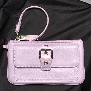 Handbags - Lilac Leather Wristlet Bag.